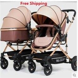 Gratis Verzending Twins Kinderwagen Luxe Modieuze Kinderwagen Aluminium Frame Hoge-Landschap Kinderwagen