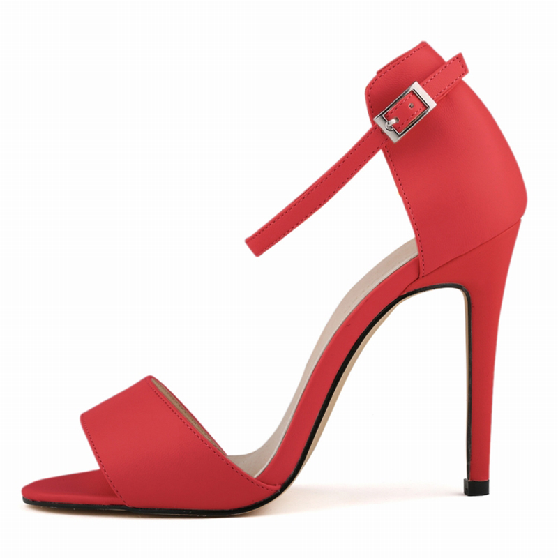 2016 Fashion Women Ankle Strap Sandles Open Toe High Heels Female Solid PU Leather Matte High-heeled Female Summer Shoes 102-2MA