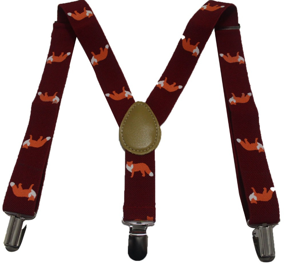 Free Shipping 2018 New Fashion Kids Cute Burgundy Fox Animal Print Braces Suspenders For Boys Girls