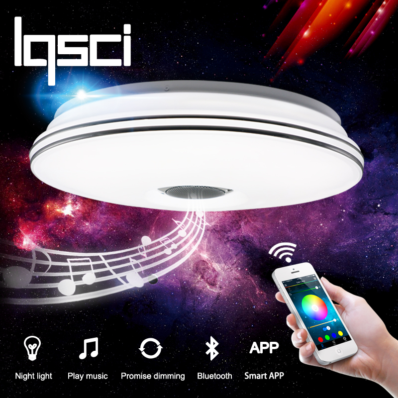 LQSCI RGB Dimmable 36W LED ceiling Light with Bluetooth & Music 176-264V modern Led ceiling lamp 2017 new rgb dimmable 36w led ceiling light with bluetooth