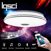 LQSCI RGB Dimmable 36W LED Ceiling Light With Bluetooth Music 176 264V Modern Led Ceiling Lamp