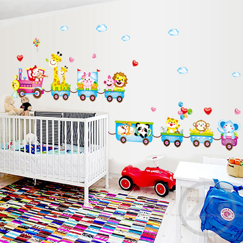 Zs Sticker train wall stickers jungle wall decor kids room home decor boys bedroom circus mural