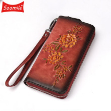 Vegetable tanned Genuine leather long wallet Retro Europe zipper purse flower pattern multi card holder brand Luxury wallets