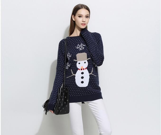 2017 Women Christmas Sweater Snowman Pattern Women Sweater And Pullovers Long Sleeve Women Long Pullovers Jumper