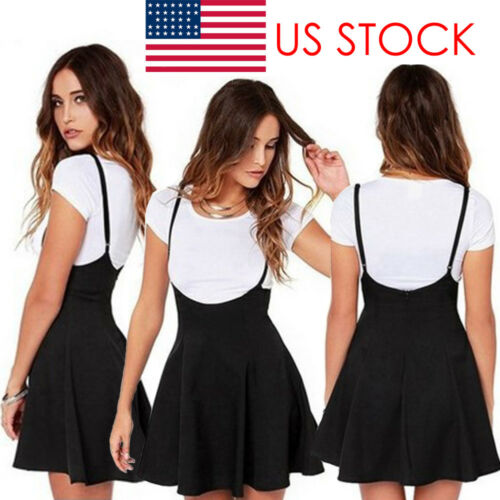 Summer Arrival Women Ladies Mini Skirt Preppy Style High Waist Pure Color Stretch Flared Skater Swing Short Suspender Skirt