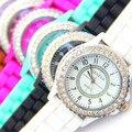 Hot Silicone GENEBRA Assistir Mulheres Rhinestone Relógios Moda Casual Relógio de Quartzo relógio Do Esporte Relogio feminino BWSB02