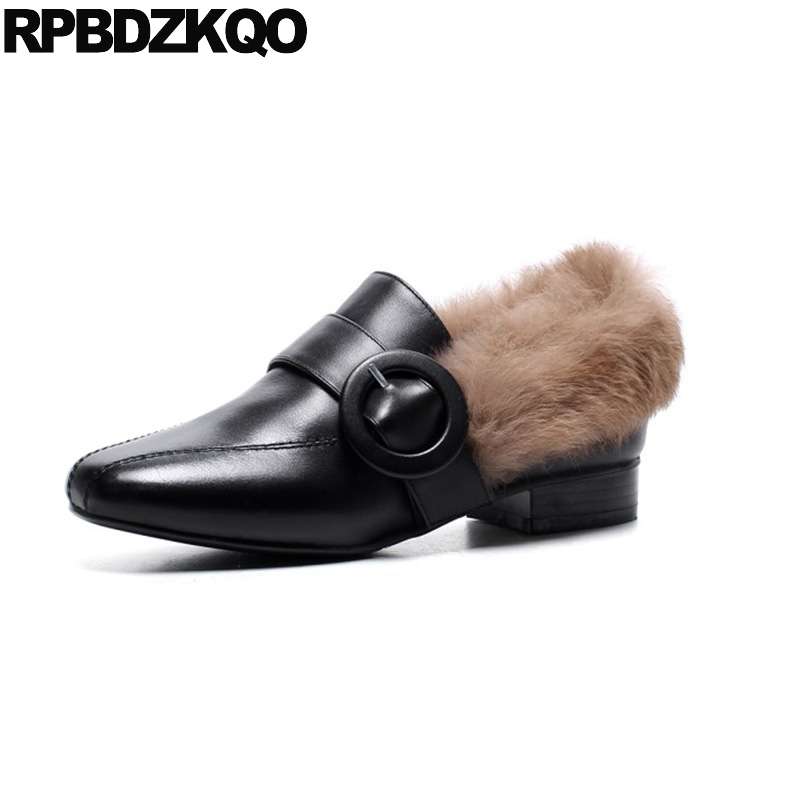 Women Winter Fur Real Leather Slip On Black Ladies Chinese Latest China Beautiful Flats Shoes Square Toe Fashion Spring Autumn ladies beautiful flats shoes black female large size casual fur glitter women slip on comfy 10 winter bling drop shipping latest