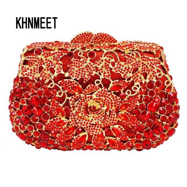1442415386 Red Clutch Evening Bag Female Feast pochette Purse Women Wedding Clutch  Purse Box paquet Stylish Rhinestone Clutch Bag SC530