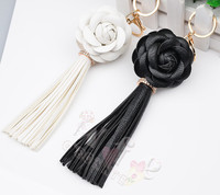 Charm Black White Camellia Flower Crystal Leather Tassel Keychain Key ring For Bag Purse Car Pendant Birthday Gift