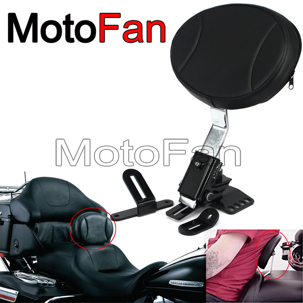 Custom Motorcycle Driver Rider Backrest Pad Adjustable for Harley Davidson Touring Road King Street Electra Glide Softail 97-UP chrome custom motorcycle skeleton mirrors for harley davidson softail heritage classic
