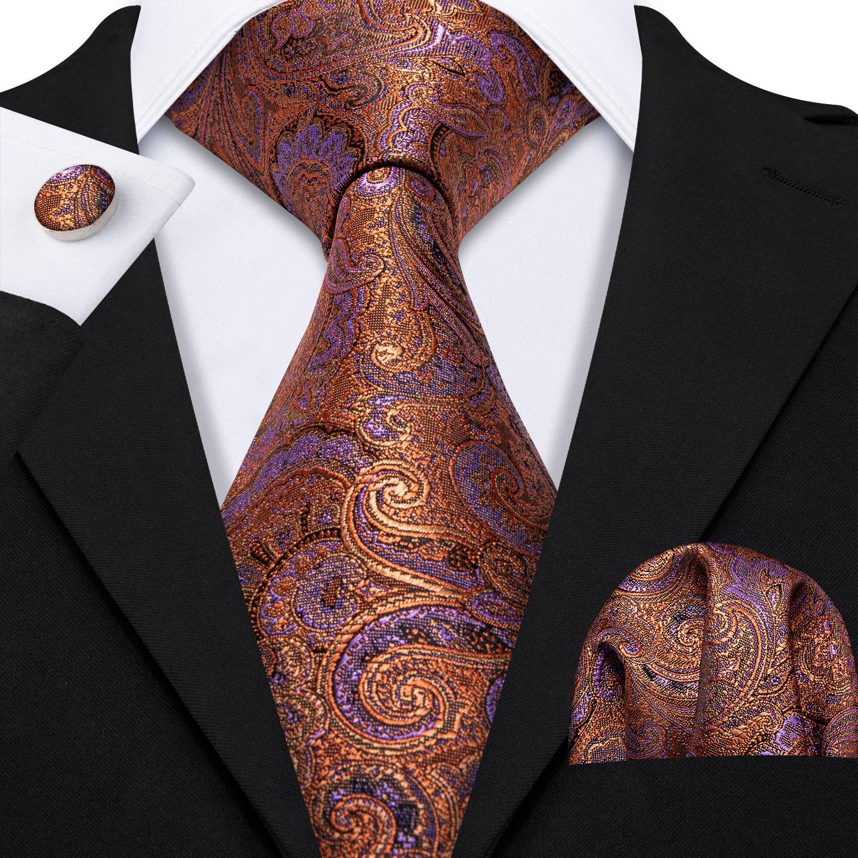 Barry.Wang Classic Designers Gold Paisley Mens Silk Ties Gravat Tie Hanky Box Set Gifts For Men Wedding Groom Neckties LS-5161