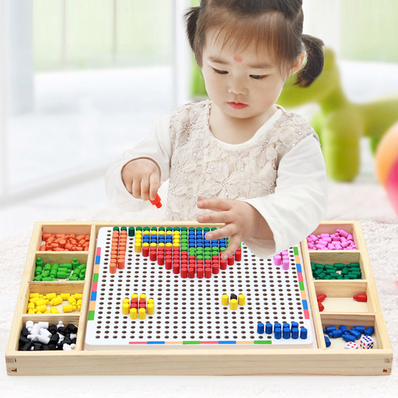 Mushroom Nail Game toy for Children Boys Girls DIY Wooden Puzzle Board Combination Educational Toys