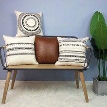 45*45 см Высокое качество Марокко Подушка Чехол декоративный чехол на подушки с геометрическим рисунком Черный и белый цвета Подушка Чехол-1 шт
