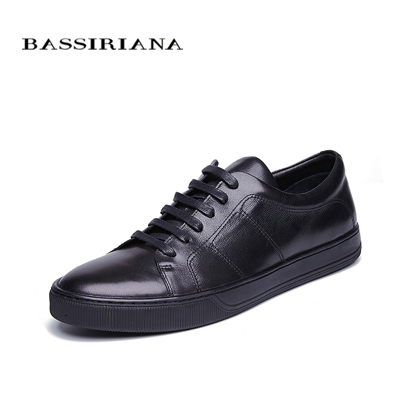 BASSIRIANA New 2018 Genuine cow Leather men casual shoes lace up round toe black spring autumn 39-45 size handmade relikey brand men dress shoes handmade genuine cow leather top quality brogue shoes lace up new big size bullock style shoes men