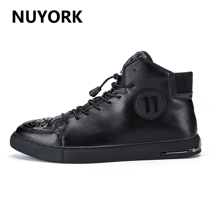 NUYORK 2017 Winter Classics Black For Man Warm Lace Up Skateboarding Shoes Luxury Brand Leather High