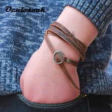 One Piece Wounded Men Leather Bracelet 2018 New Minimalist Style Multi-layer Ladies Charm