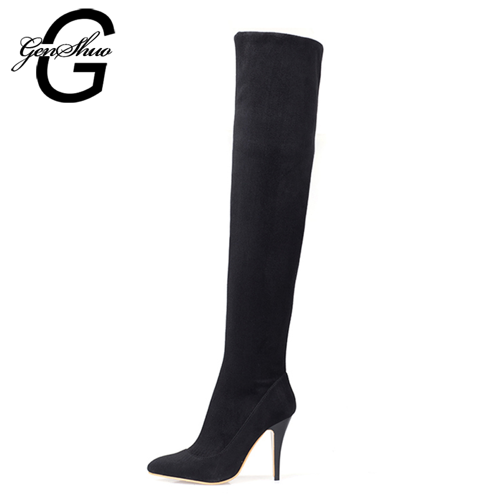 GENSHUO Big Plus Size 35-43 Fashion Over The Knee Thigh High Boots Women Sexy Thin High Heels Shoes Boots Winter Bota Suede armoire new sexy genuine leather black over the knee thigh high boots ladies nude shoes low heels leica aga20 big size 33 43 10