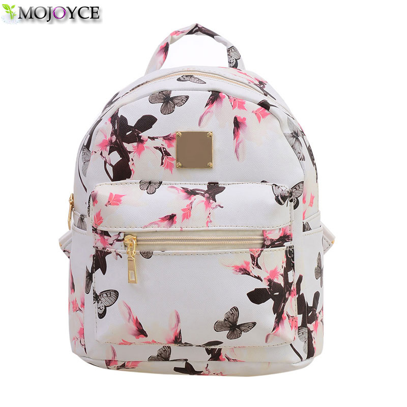 Fashion Floral Printing Women Leather Backpack School Bags for Teenage Girls Lady Travel Small Backpacks Mochila Feminina fashion women leather backpacks rivet schoolbags for teenage girls female bagpack lady small travel backpack mochila black bags