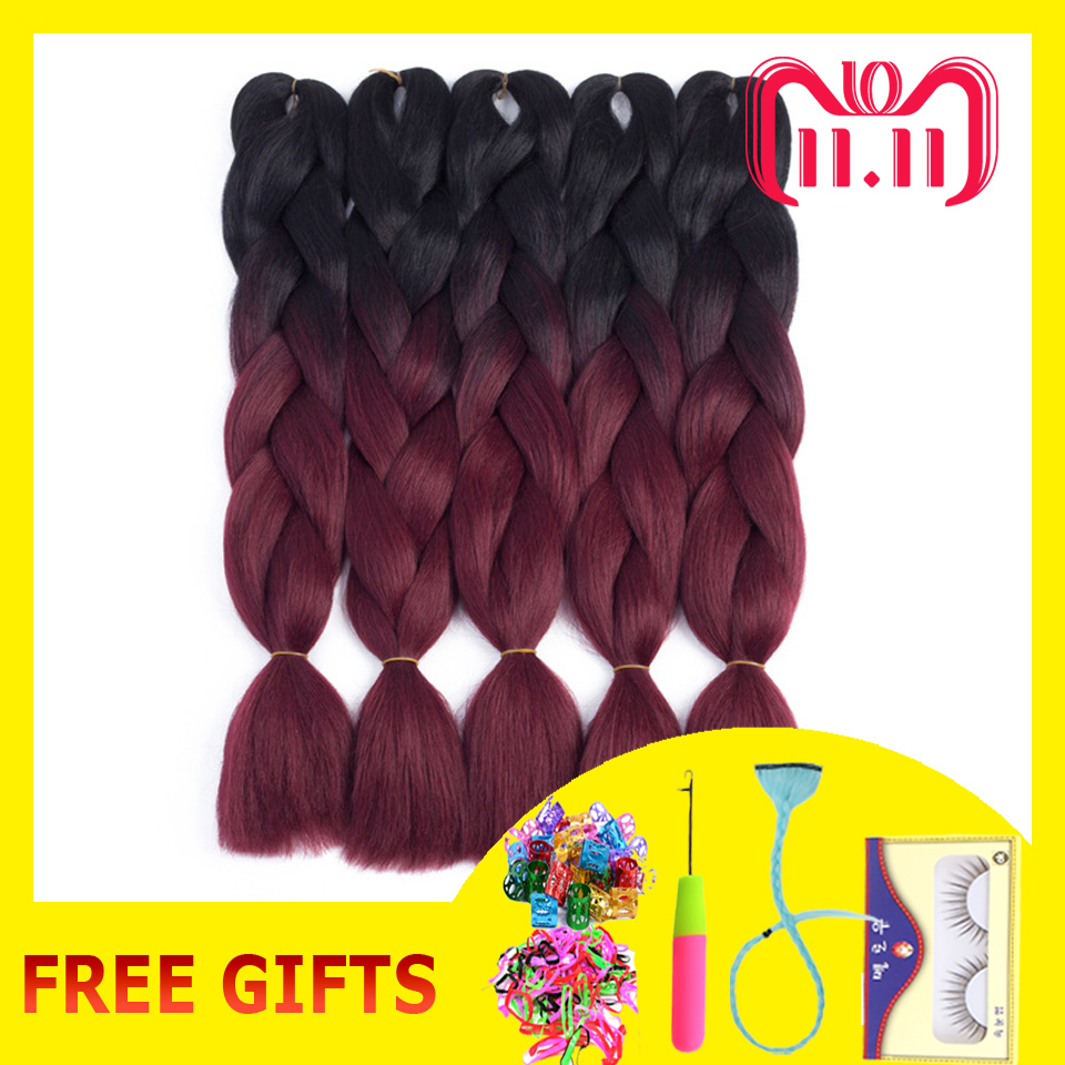 ELEGANT MUSES 5pcs 24inches 100g/Pc Ombre Hair Extensions Kanekalon Jumbo Braid Hair Black And Wine Red Synthetic Hair For Braid