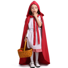 Deluxe Girls Little Red Riding Hood Costume Cosplay Halloween For Kids Gilrs Fancy Dress Carnival Party Suit