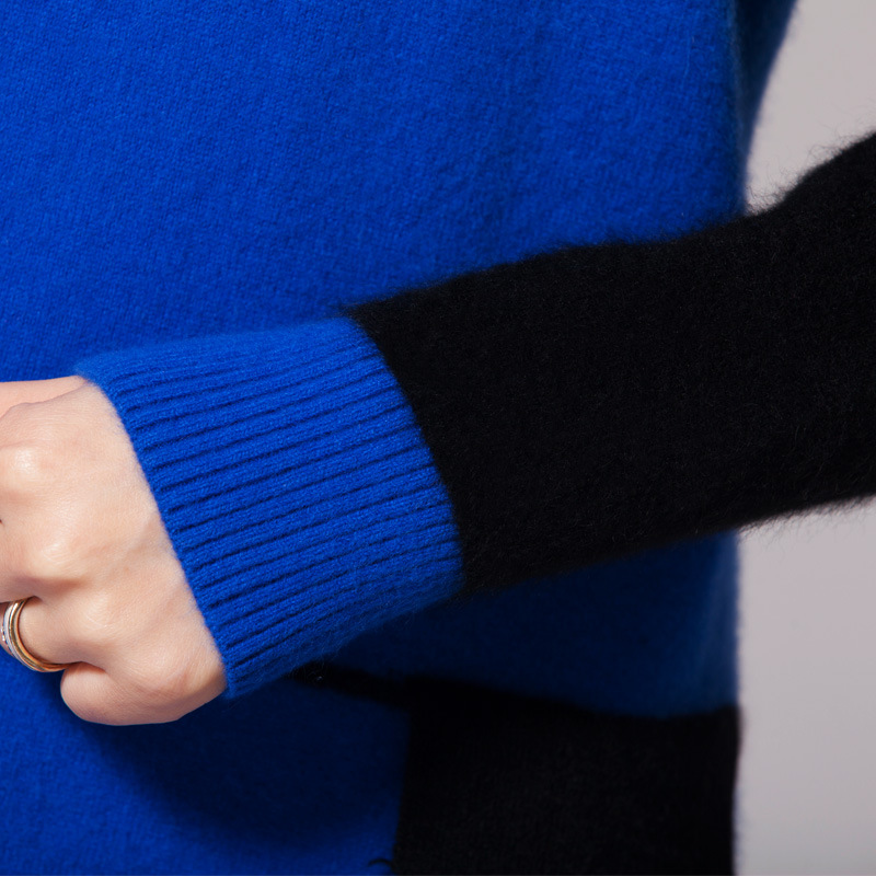 Pulls Suéter Patchwork Manches Swearter Fit Robe Femmes Danjeaner Coréenne Blue Slim À Mode Femme Longues Mujer x1AORqI
