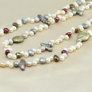 Image 2 - פרל תכשיטים, ארוך אמיתי טבעי מים מתוקים פרל שרשרת חתונה נשים, אמא פרל שרשרת 190cm 200cm ילדה קבצי gif