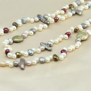 Image 2 - Perła biżuteria, długa prawdziwa naturalna perła słodkowodna naszyjnik ślub kobiety, matka perła naszyjnik 190cm 200cm dziewczyna gify