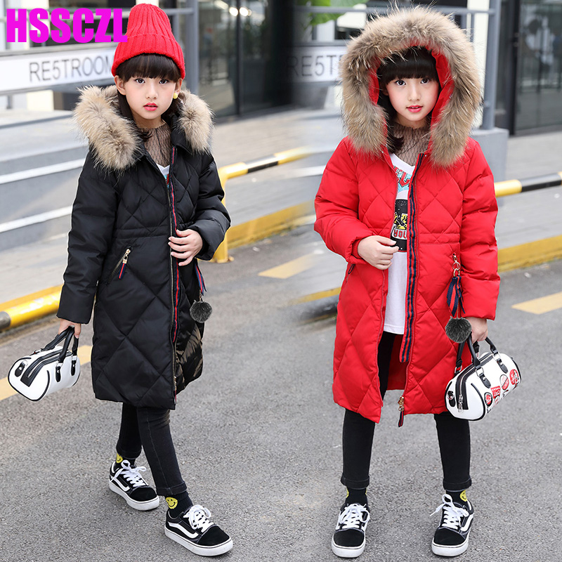 HSSCZL Girls Duck Down Jackets 2018 Brand Girl Child Winter Thicker Down Coat Hooded Natural Fur Collar Outerwear Overcoat 7-14A
