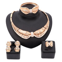 New High Fashion Dubai Jewelry Set 18K Gold Plated Crystal Bow Pendant Necklace Nigerian Wedding African