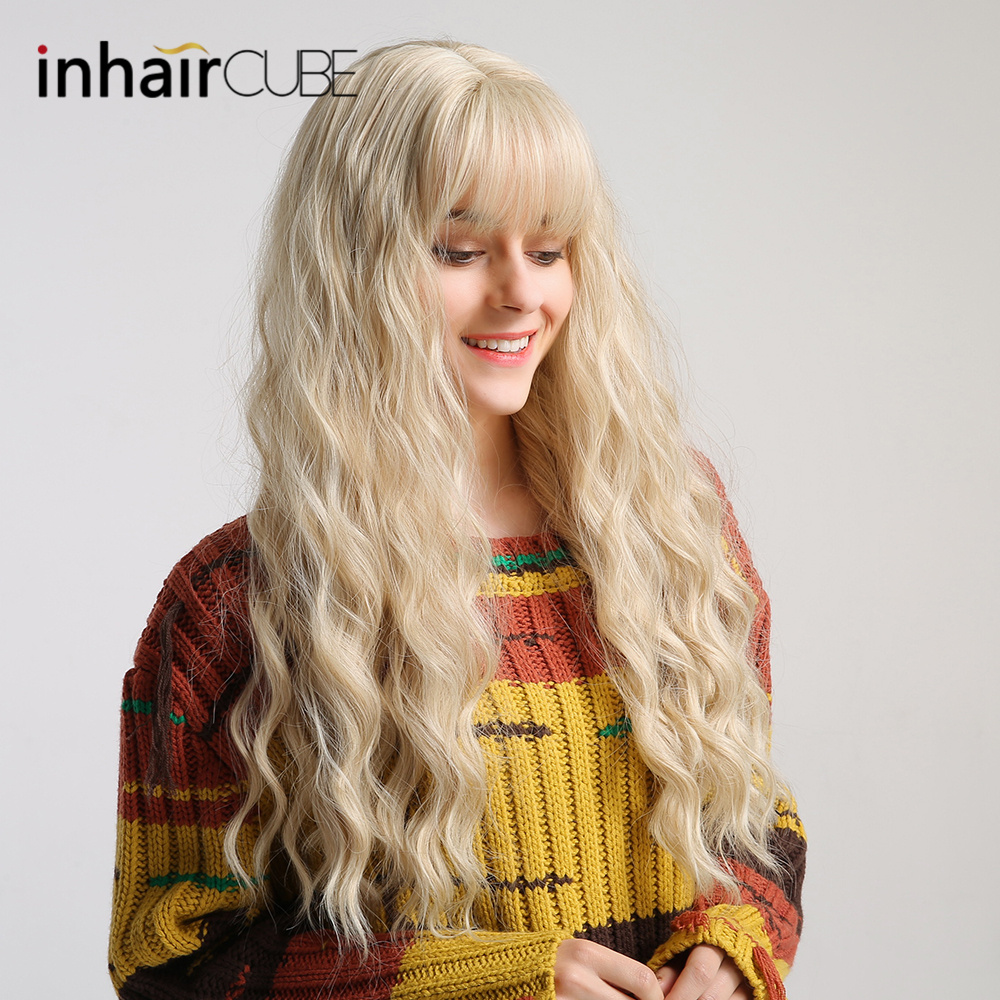 "Inhair Cube 26"" Women's Wig Light Blonde Synthetic Hair Long Curly Wig Heat Resistant Weave  Wigs For Women Use and Cosplay-in Synthetic None-Lace  Wigs from Hair Extensions & Wigs"