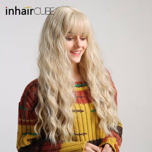 Curly Wig Wig-Light Blonde Inhair-Cube Synthetic-Hair Cosplay Heat-Resistant Long Women