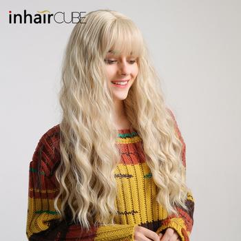 Inhaircube jasny blond kobiety peruki syntetyczne włosy peruka długie kręcone żaroodporne Lolita peruki dla kobiet używać i Cosplay darmowe upominki tanie i dobre opinie NoEnName_Null Wysokiej Temperatury Włókna 1 sztuka tylko Średni brąz 130 Średnia wielkość Elastyczne koronki lc205