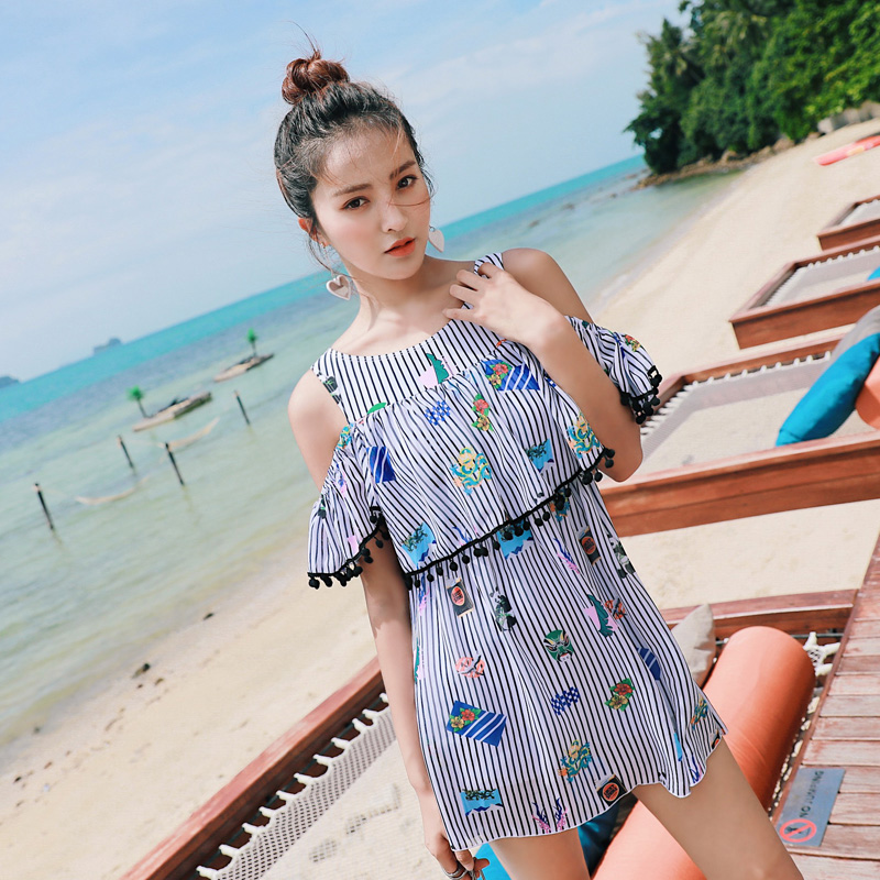 Two Piece Swimsuits Young 2018 Latest Skirts Swimsuit Beach High Neck Modest Swimwear Women Tankini Bathingsuit 1336