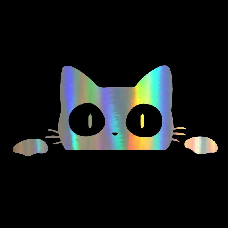 14CM6.2CM Car Stickers Surprise Cat Peeking Car Sticker Vinyl Decal Car Styling Animal Wall Window Door Laptop Decor Stickers (4)