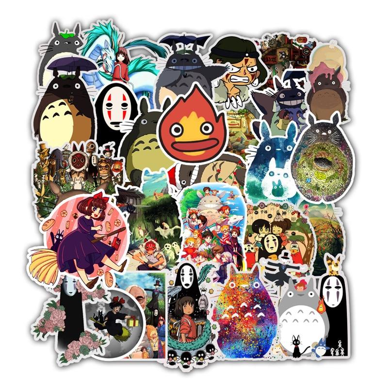 50pcs Stickers Miyazaki Hayao Anime Sticker My Neighbor Totoro/Spirited Away For Skateboard Bicycle Laptop Waterproof Decals