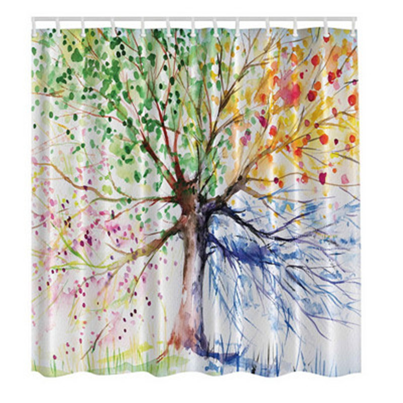 New 150cm*180cm Bathroom Waterproof Fabric Shower Curtain With 12 Hooks Colorful Tree Pattern Waterproof Fabric Bathroom 3 Color