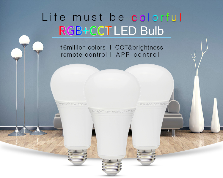 Mi light AC85V-265V E27 12W RGB+CCT LED Bulb 2.4G Wireless WIFI Remote App Control brightness and Color temperature Led Lamp e27 7w rgb led bulb lamp light 16 color ac85v 265v ir remote