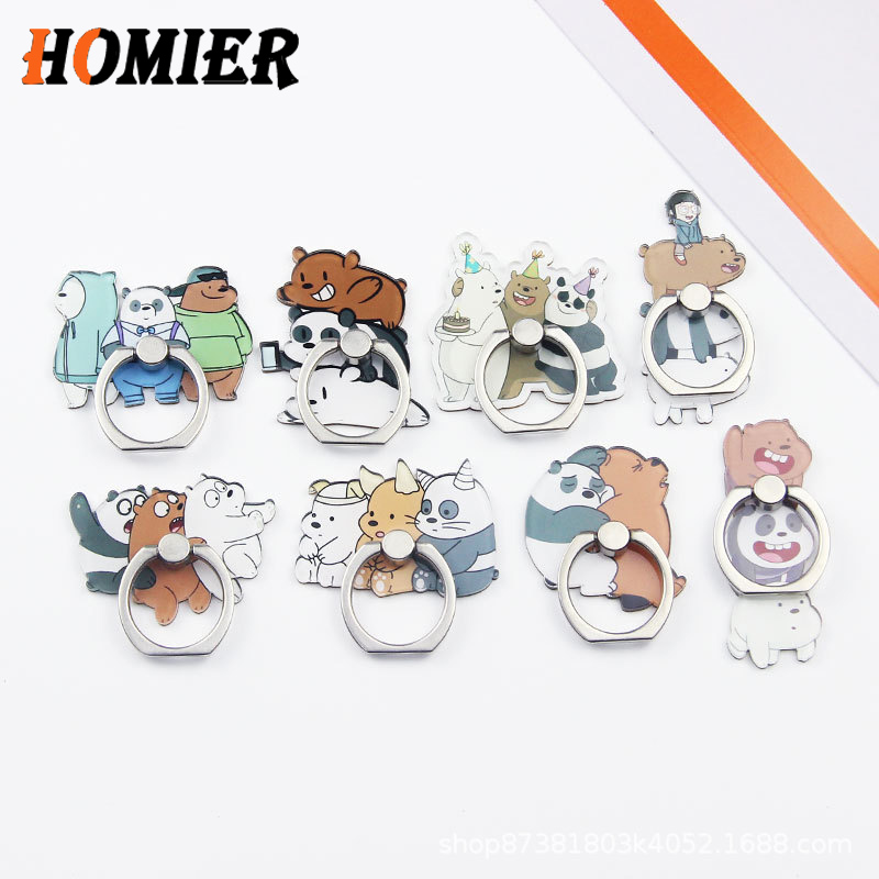 Universal Metal Finger Ring Mobile Cell Phone Cute Cartoon Phone Holder Stand For IPhone 5 6s 7 8 Plus X XS Bracke Socket Holder
