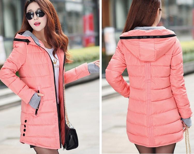 HTB13lPqXEFWMKJjSZFvq6yenFXac 2019 women winter hooded warm coat slim plus size candy color cotton padded basic jacket female medium-long  jaqueta feminina