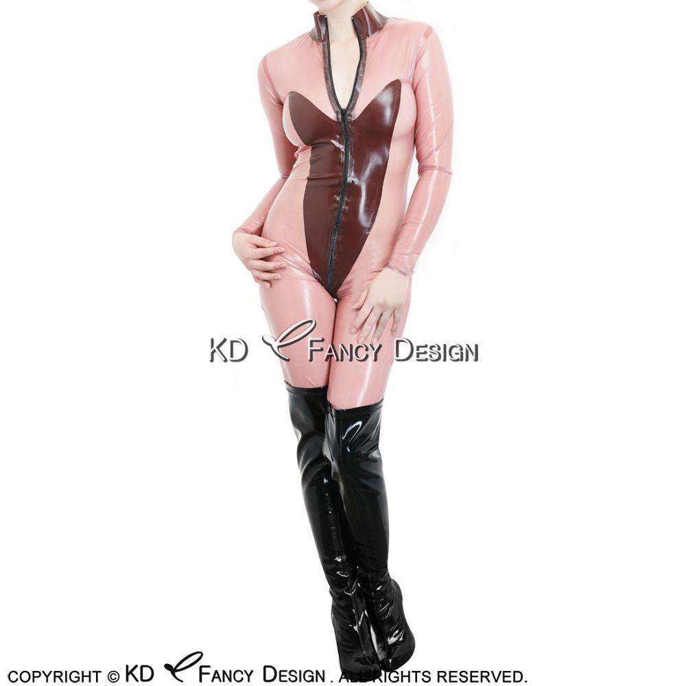Combinaison bébé rose avec Latex marron avec décoration de bouclier Body avant zippé en caoutchouc combinaison Zentai LTY-0171
