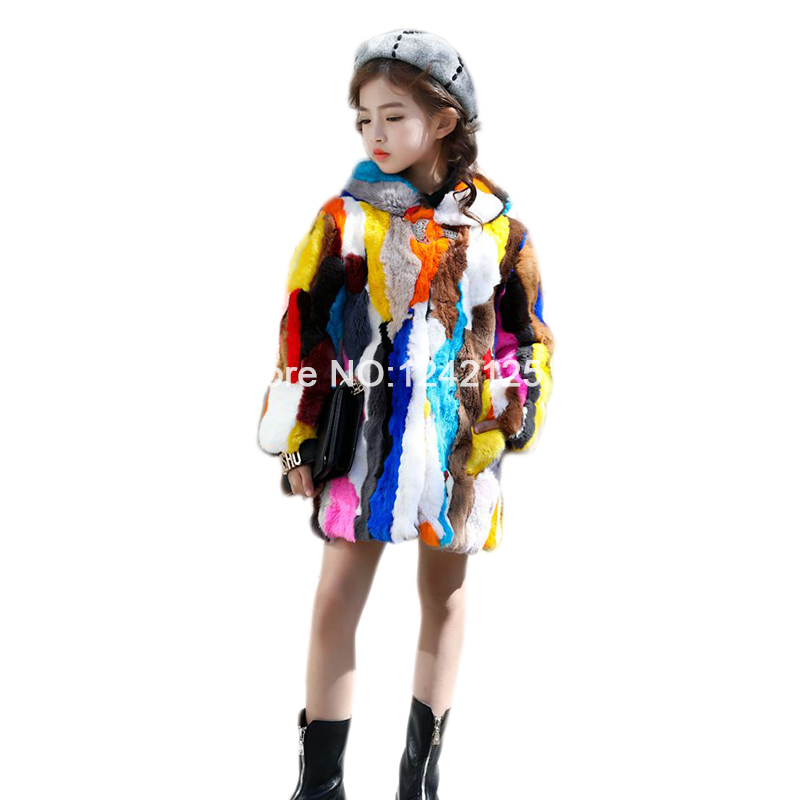 New autumn winter Parent-child children girls real rex rabbit fur hooded coat Rex rabbit out wear Medium long overcoat clothing