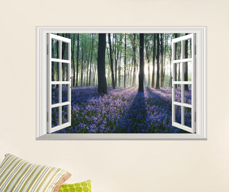 Lavender Flowers D Window Wall Sticker Tree Wall Sticker With - 3d window wall decals