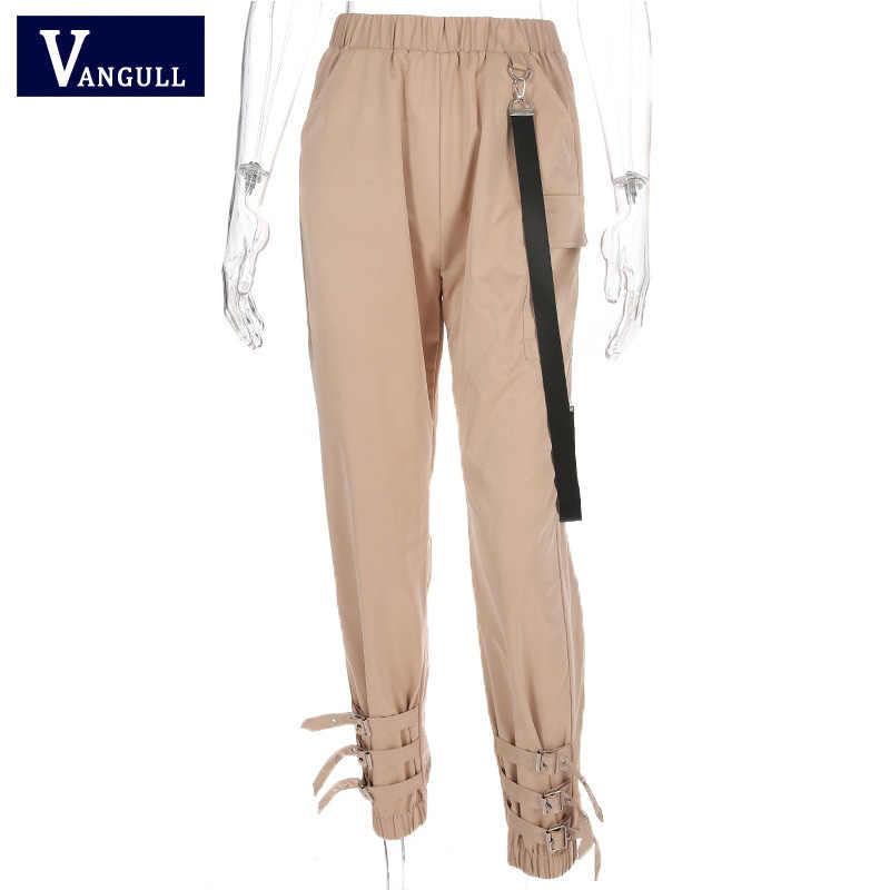Vangull брюки с высокой талией женские спортивные штаны джоггеры 2019 новые весенние модные женские боковые Ленты Брюки карго Пряжка для брюк повседневные спортивные штаны