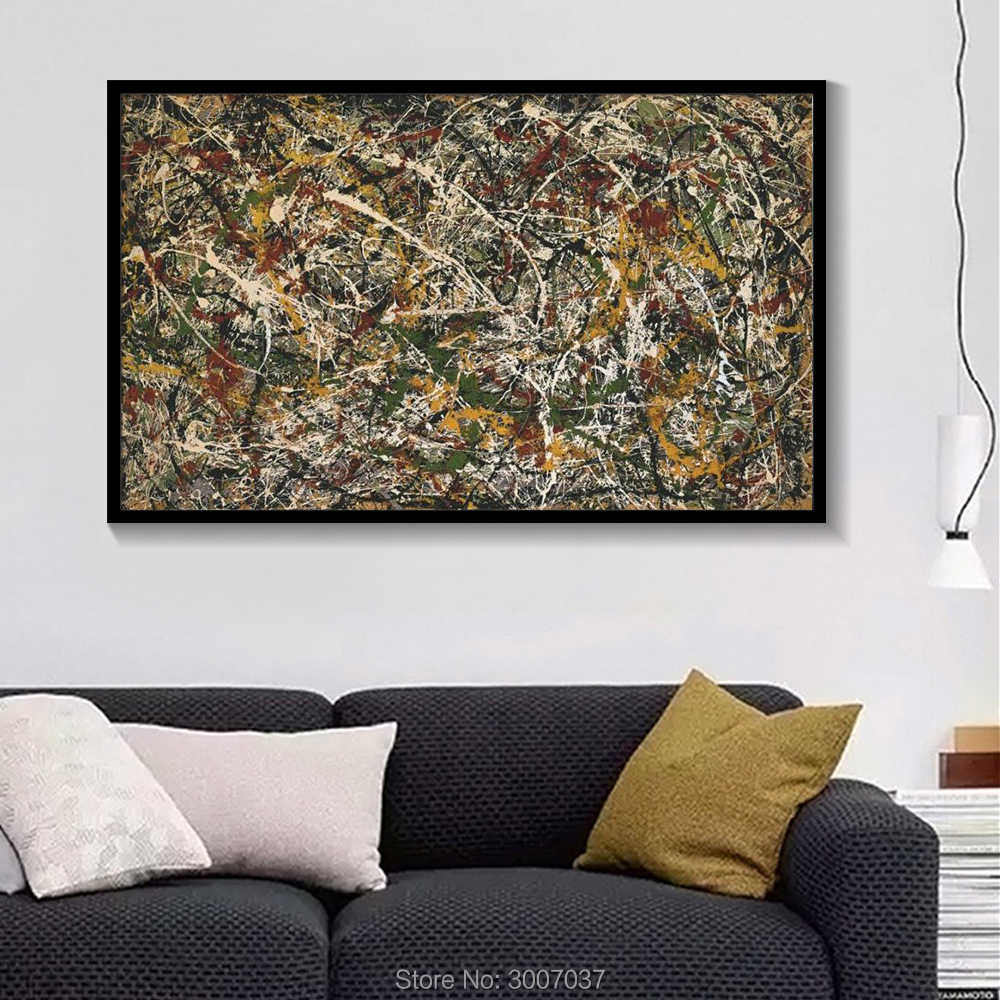 High Quality Jackson Pollock Abstract Handmade Oil Painting on Canvas Painting Colorful Modern Wall Pictures for Home Decor