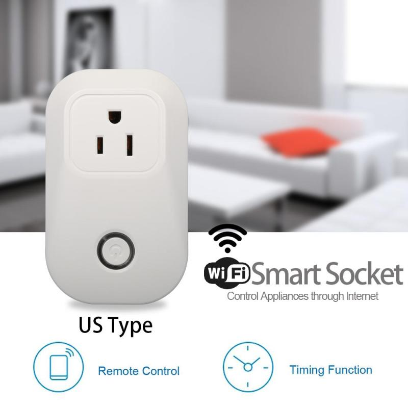 AC 110V 220V WiFi Smart Outlet Power Socket App Wireless Remote Control Timer Switch Support Amazon Alexa Voice Control US Plug kerui s72 smart socket home wifi remote control timer delay outlet switch ios android app control electronics from anywhere