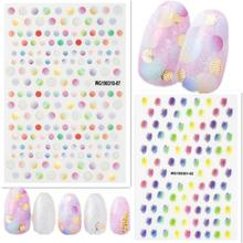 Newest WG-1007 Gradation Dots design 3D nail sticker template decals Japan type DIY decoration for wraps