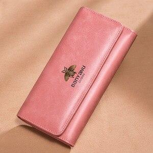 Image 5 - Cartera de cuero genuino 2020 para mujer, monedero con cerrojo de marca de lujo, billetera larga de cuero para mujer, billetera de teléfono de abeja, titular de la tarjeta femenina
