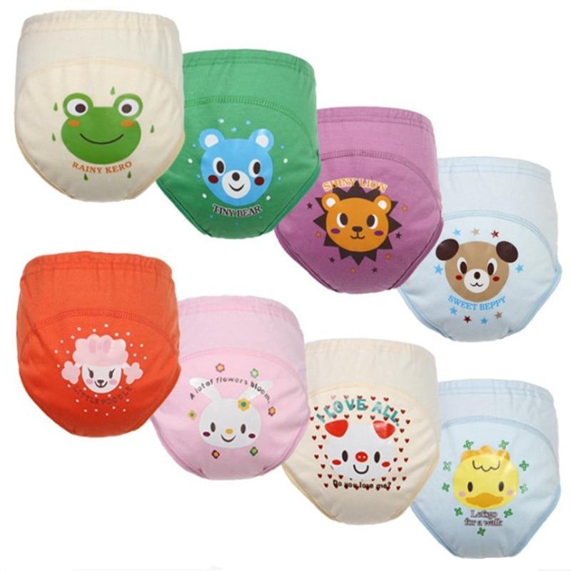 4 шт., детские подгузники, многоразовые подгузники, 4 слоя ткани, подгузники, моющиеся, для маленьких девочек и мальчиков, водонепроницаемые, хлопковые, тренировочные штаны