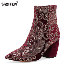 Brand Design Thick High Heels Shoes Women Sexy Pointed Toe Side Zip Boots Women Warm Winter Botas Footwear Size 33-43