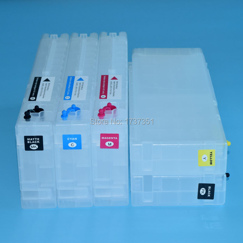 5 color 700ml refill ink cartridge with auto reset chip for Epson SureColor T5000 printer buy 8 pieces refill ink cartridge get 1pc chip resetter for epson 7600 9600 printer with dye pigment ink cartridge